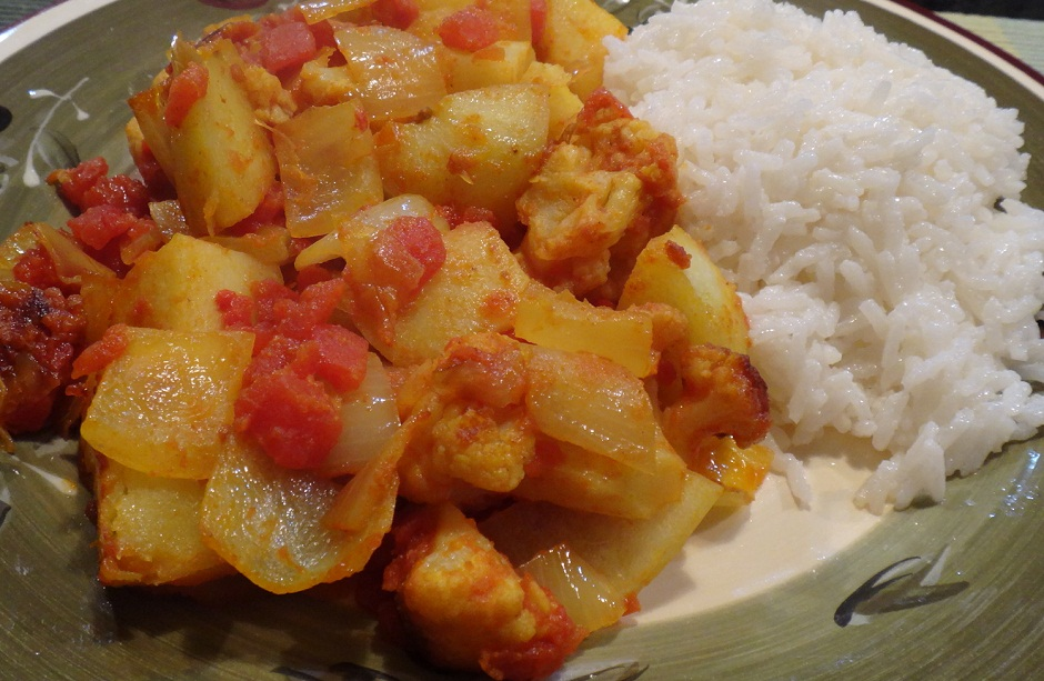 Aloo Phujia with Coconut Rice