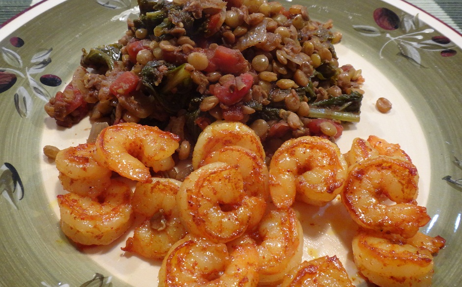 Lentils with Kale and Shrimp