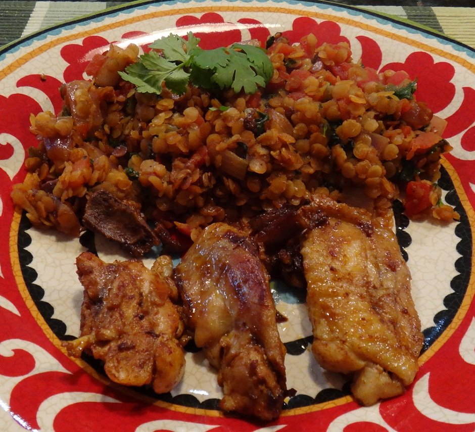 Spanish Fried Lentils with Chicken | Meals4One